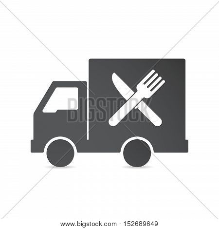 Isolated Delivery Truck With A Knife And A Fork
