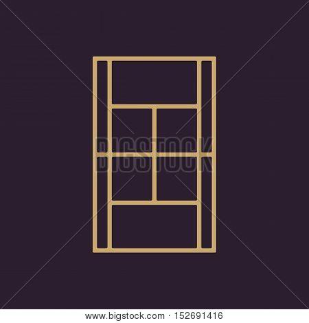 The tennis court icon. Sport symbol. Flat Vector illustration