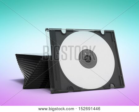 3D Cd Cases Open On Gradient Background