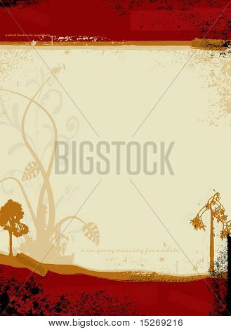 Gothic illustrated background in red and orange with a floral design