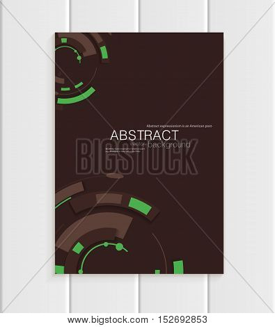 Stock vector brochure in abstract style. Design business templates with green rounds, rectangular shapes on dark brown background for printed materials, elements, web sites, cards, covers, wallpaper