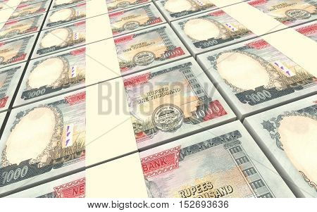 Nepalese rupee bills stacks background. 3D illustration.