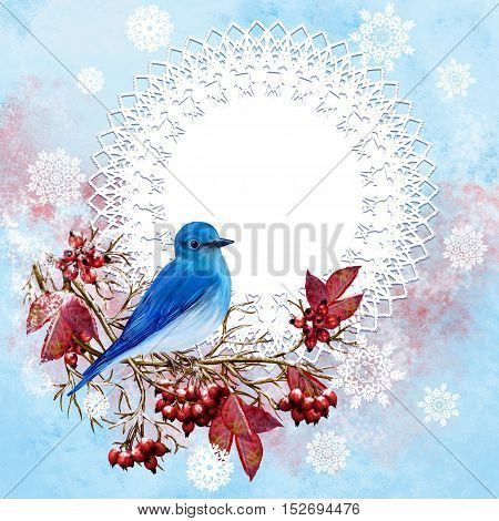 Blue bird sitting on a branch bright red berries leaves winter background frost snow. Branch with snow. Vintage postcard old style. Winter background.
