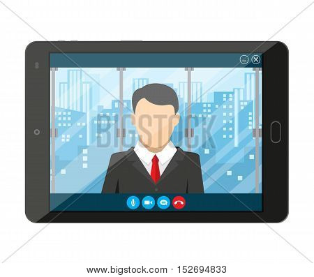Tablet pc with internet conference app. Director communicates with staff . Online meeting, video call, webinar or training. Vector illustration in flat style
