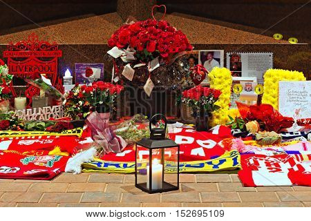 Liverpool UK 17th October 2016. The Hillsborough Memorial at Liverpool Football Club's new main stand