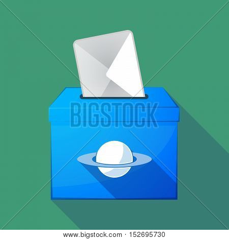 Long Shadow Ballot Box With The Planet Saturn