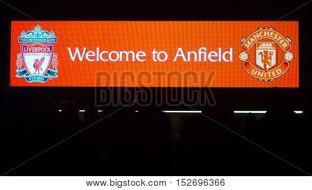 LIVERPOOL UK 17th OCTOBER 2016. Welcome to Anfield sign and people in silhouette at Liverpool Football Club Stadium. Liverpool UK.