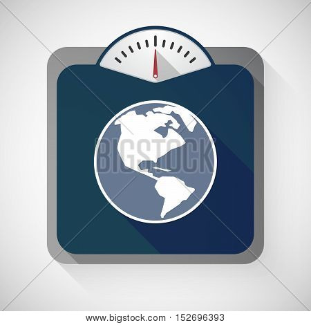 Isolated Long Shadow Body Weight Scale With An America Region World Globe