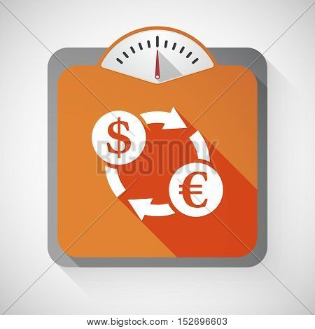 Isolated Long Shadow Body Weight Scale With A Dollar Euro Exchange Sign
