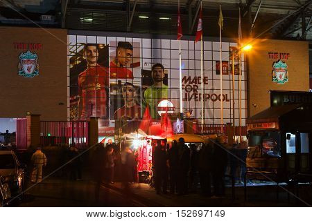 LIVERPOOL UK 17th OCTOBER 2016. Stalls selling scarves outside Liverpool Football Club's stadium at a nightime game