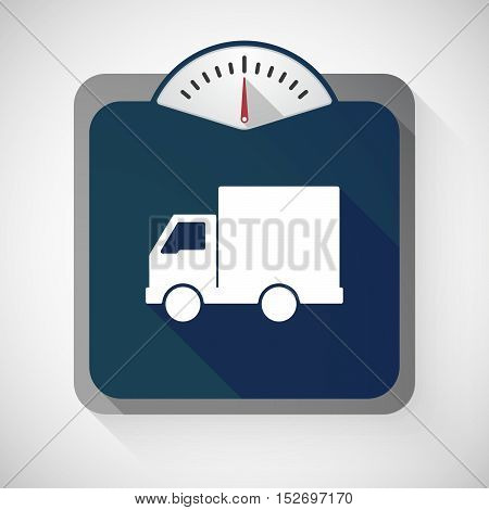 Isolated Long Shadow Body Weight Scale With A  Delivery Truck