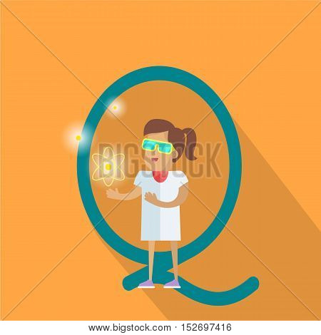 Science alphabet vector concept. Flat style. ABC element. Scientist woman in white gown standing with atom structure in hand, letter Q behind. Educational glossary. On orange background with shadow