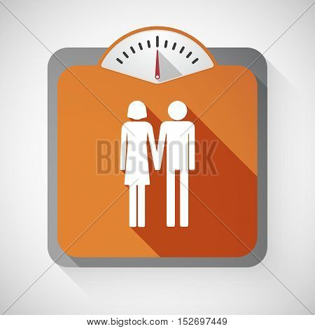 Isolated Long Shadow Body Weight Scale With A Heterosexual Couple Pictogram