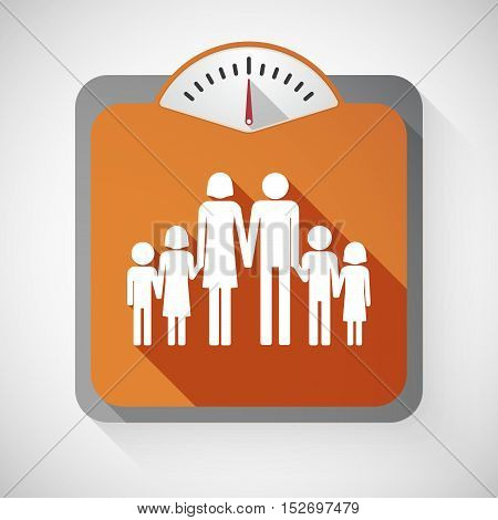 Isolated Long Shadow Body Weight Scale With A Large Family  Pictogram