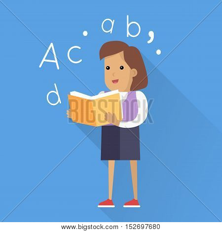 Schoolgirl with book. Smiling girl in school uniform reading book. Stand in front. Schoolgirl isolated character with long shadow. School personage. Vector illustration on white background