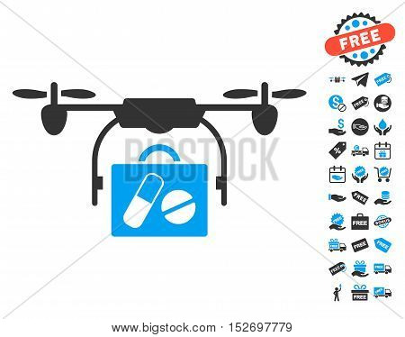 Airdrone Pharmacy Delivery icon with free bonus symbols. Vector illustration style is flat iconic symbols blue and gray colors white background.