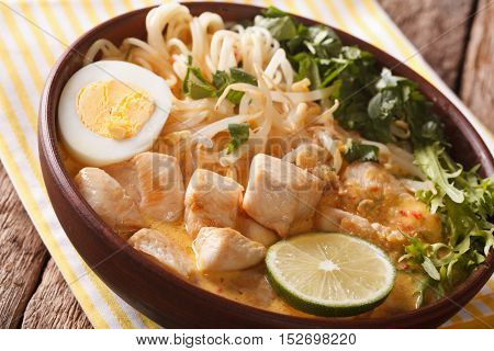 Asian Laksa Soup With Chicken, Egg, Noodles, Sprouts And Coriander. Horizontal
