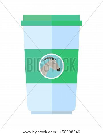 Goat dairy product vector. Flat design. Labeled plastic cup container with goat head. Illustration for farm husbandry, milk production, grocery store ad. Sour cream or yoghurt. Diet food. On white