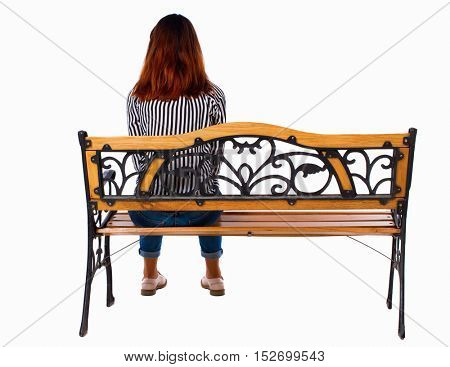 Back view of a woman sitting on a bench.  girl  watching. Rear view people collection.  backside view of person.  Isolated over white background. Lonely brunette sits on a street bench.