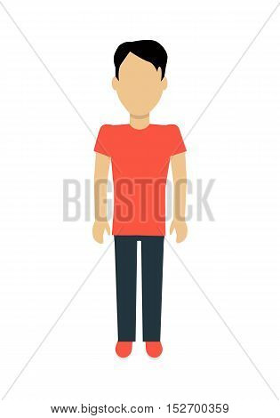 Male character without face in red t-shirt and black pants vector in flat design. Man template personage figure illustration, mobile app pictogram, logos, infographic. Isolated on white background.