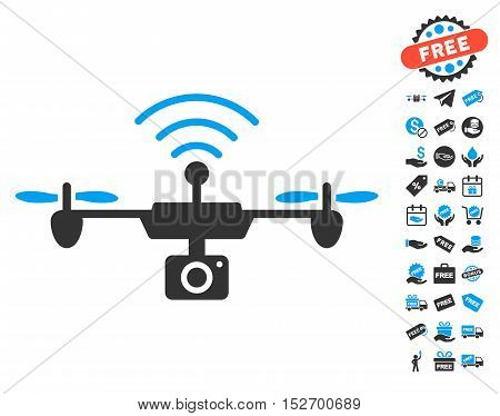 Radio Camera Airdrone icon with free bonus design elements. Vector illustration style is flat iconic symbols blue and gray colors white background. poster