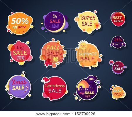 Set of sale stickers vector illustrations. Flat style. Round bright stickers with various advertising text. For store  sales and discounts ad. Product label design. Black friday. On white background