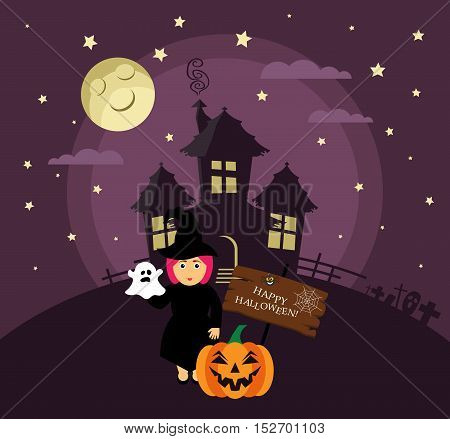 Poster, banner or background for Halloween Party night with haunted house. Witch, pumpkin, moon and stars. Modern flat design.