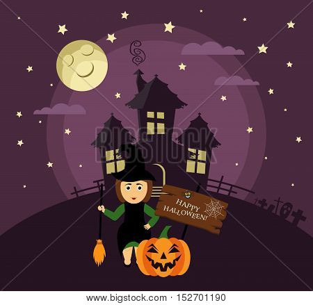 Poster, banner or background for Halloween Party night with haunted house. Witch with broom, pumpkin, moon and stars. Modern flat design.
