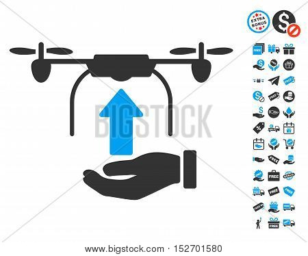 Send Drone Hand icon with free bonus pictograph collection. Vector illustration style is flat iconic symbols blue and gray colors white background.