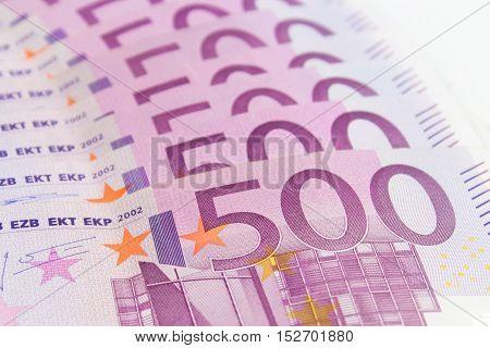 Stack Of Cash Money - 500 Euro Bills Macro