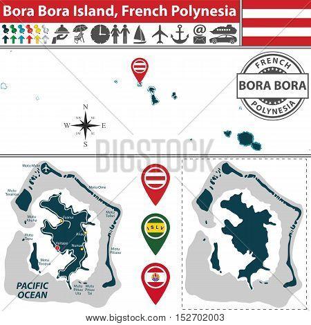 Map Of Bora Bora Island, French Polynesia