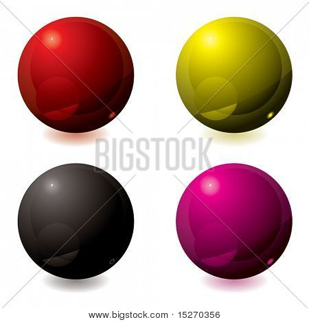 Abstract gel filled buttons in different colors ideal for web