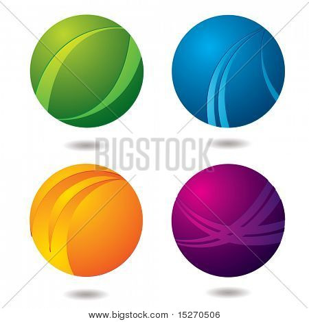 Set of four abstract buttons with drop shadow
