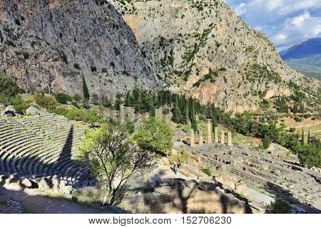 The Theatre And Apollo Temple In Delphi, Greece