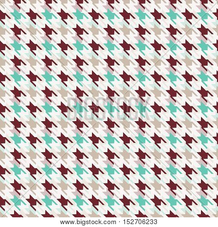 Houndstooth seamless pattern. Vector background in white blue and brown colors.