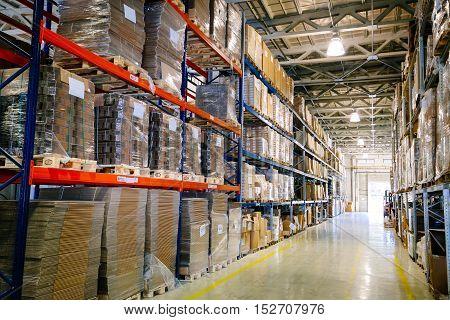Interior of a modern and big industry warehouse