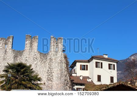 Medieval Citty Wall In Trento, Italy