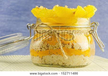 Fillet Orange With Porridge In Pot, Layer Of Juice