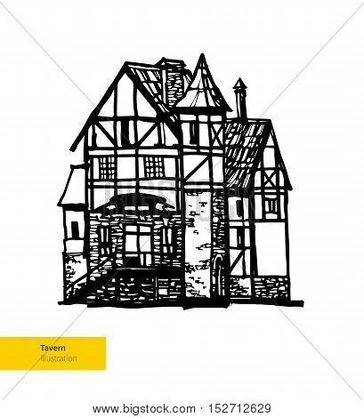 Vector Hand Drawn Tavern Illustration. Hotel House.