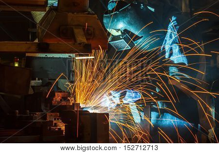 welder Industrial automotive part in a factory
