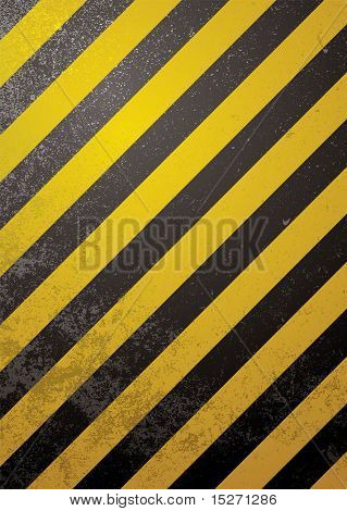Traditional black and yellow warning background with grunge effect