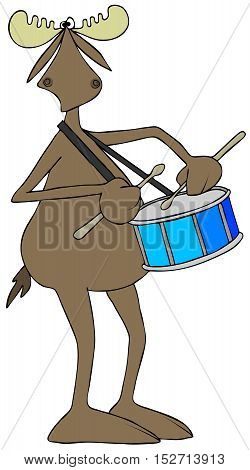 Illustration of a bull moose playing a snare drum with a strap around his neck.