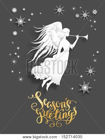 Christmas background with silhouette of an angel on a snowy background. Luxury Christmas design for card, banner,ticket, leaflet and so on.