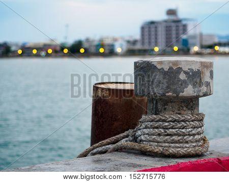 bollard for tying up ships at Prachuap Khiri Khan Thailand