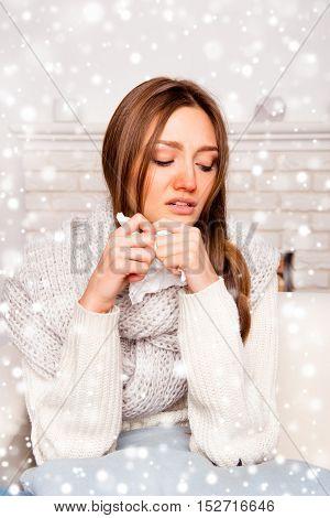Portrait Of Ill Woman Having Flue On New Year