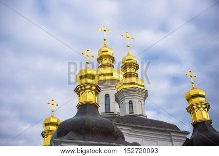Colorful Tower With Onion Dome And Orthodox Cross On Top. Detail Of  Christian Church Made In Byzant