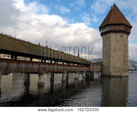 21 December 2012: Lucerne / Luzern, Switzerland. Iconic Architecture - The Chapel Bridge And The Wat