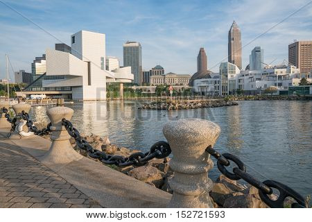 CLEVELAND, OH - SEPTEMBER 16, 2016: Cleveland Ohio skyline from the harbor walkway