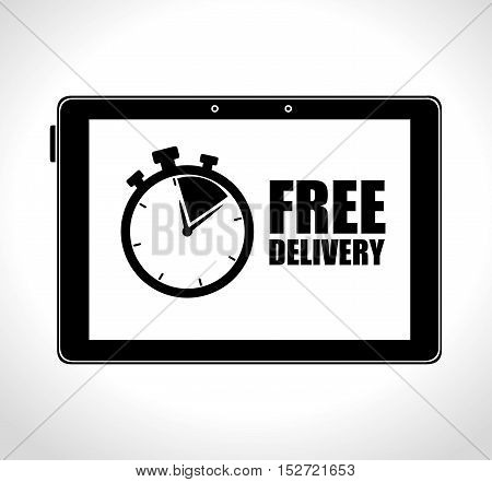 tablet technology free delivery time vector illustration