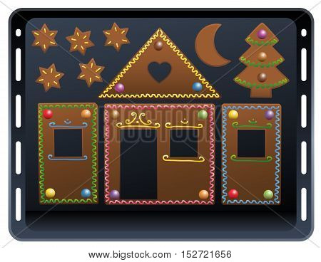 Baking plate - pieces of a gingerbread house with colorful candy ornaments.